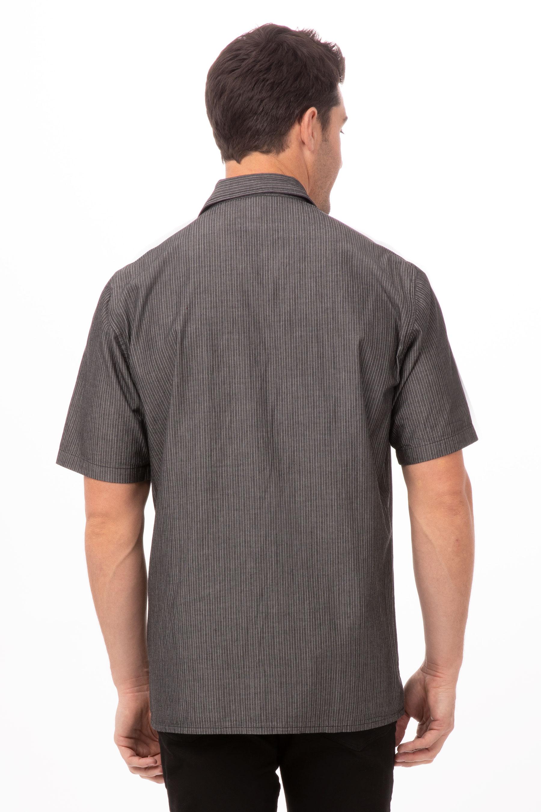 Detroit Striped Short Sleeve Denim Shirt