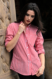 Womens Red Gingham Dress Shirt - side view