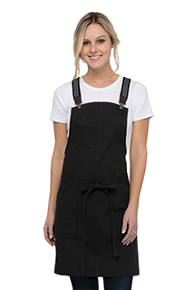 Berkeley Women's Petite Bib Apron: Jet Black Cotton - side view