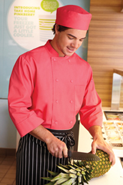 Basic 3/4 Sleeve Chef Coat: Berry