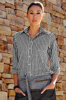Womens Black Gingham Dress Shirt - side view