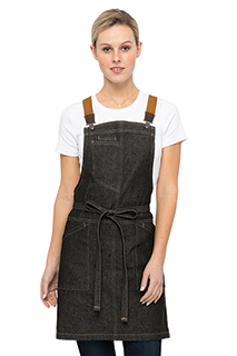 Berkeley Women's Petite Bib Apron: Black Denim - side view