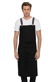 Berkeley Chefs Bib Apron: Jet Black Cotton