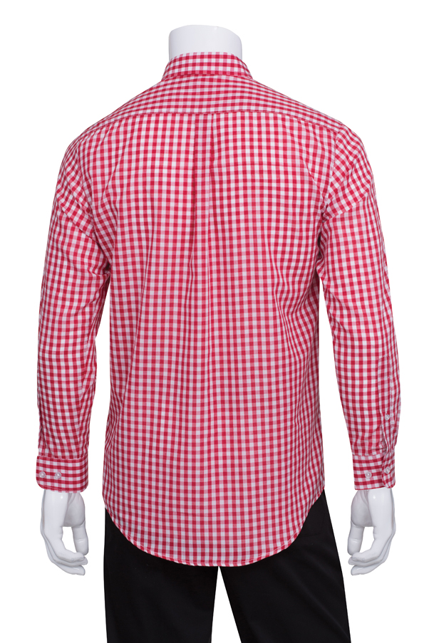mens red gingham dress shirt chef works