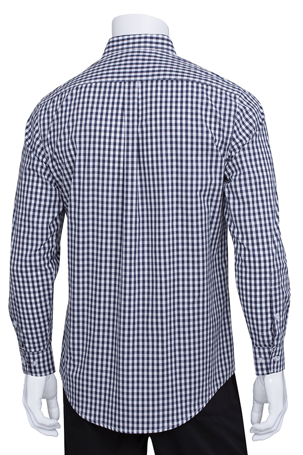 mens dark navy gingham dress shirt chef works