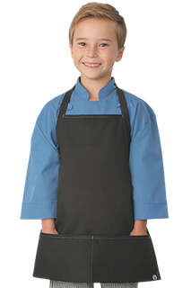 Kids Black Apron with Blue Stitching - side view