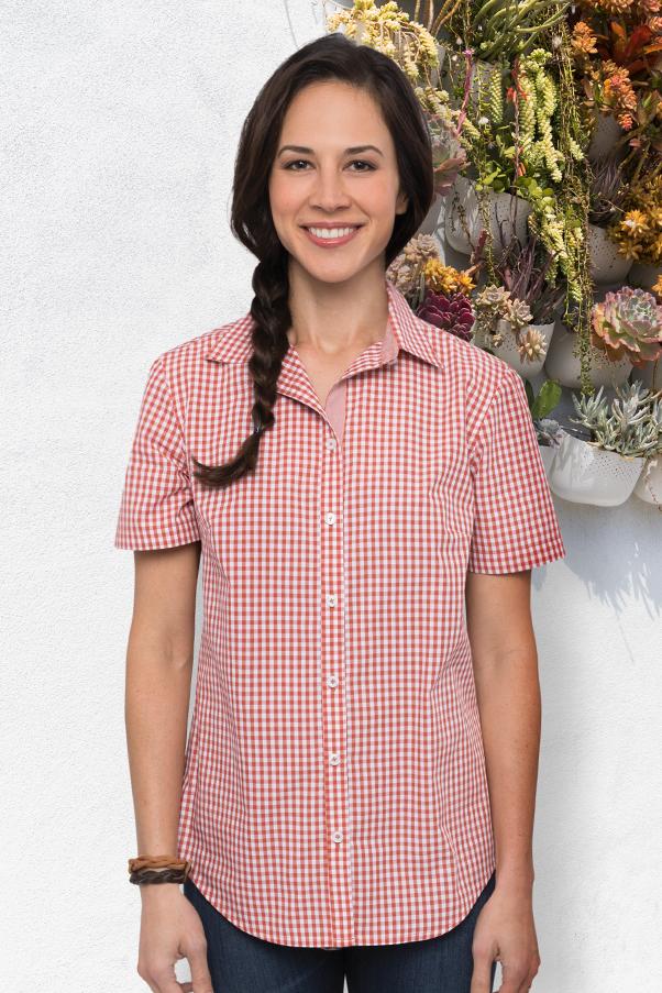 e0e462c29 Gingham Womens Short-Sleeve Shirt | ChefWorks.com
