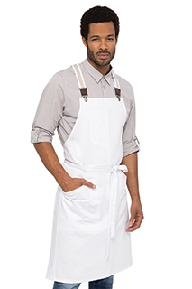 Berkeley Bib Apron: White - side view