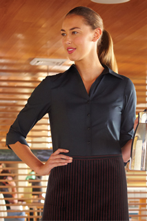 Womens Finesse 3/4-Sleeve Fitted Shirt - side view