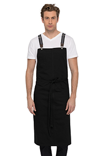 Berkeley Chefs Bib Apron: Jet Black Cotton - side view