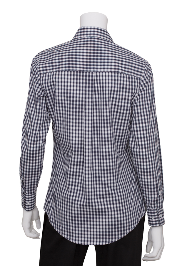 Womens Dark Navy Gingham Dress Shirt Chef Works
