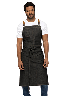 Berkeley Chefs Bib Apron: Black Denim - side view