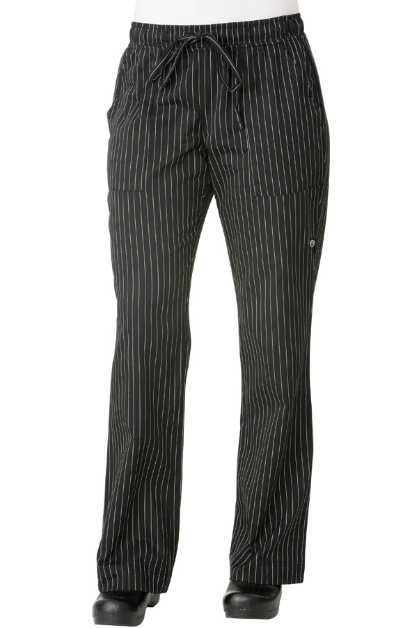 Black Pinstripe Womens Chef Pants [BWOMBPS]