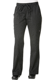 Black Pin Striped Womens Chef Pants - Chef Works Womens Chef Pants Collection