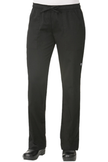 Womens Chef Pants: Black - side view