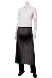 Chalk Striped Black Bistro Aprons - Chef Works Chef Aprons Collection