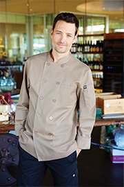 Cyprus Basic Khaki Chef Coat - Chef Works Chef Coat & Chef Jacket Collection