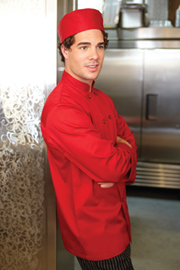Nantes Basic Red Chef Coat - Chef Works Chef Coat & Chef Jacket Collection