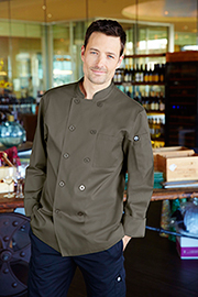 Perugia Basic Olive Chef Coat - Chef Works Chef Coat & Chef Jacket Collection