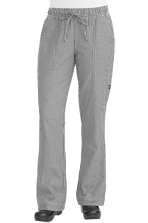 Womens Chef Pants: Small Check - side view