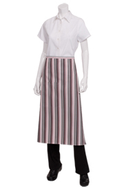Striped Bistro Aprons: Berry, Gray, Black Stripe