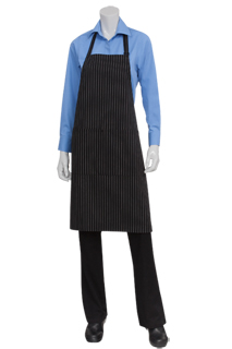 White Pinstriped Bib Aprons - side view