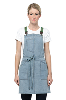 Berkeley Women's Petite Bib Apron: Sky Blue - side view