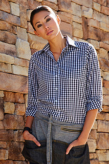 Womens Dark Navy Gingham Dress Shirt - side view