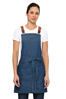 Berkeley Women's Petite Bib Apron: Medium Blue - side view