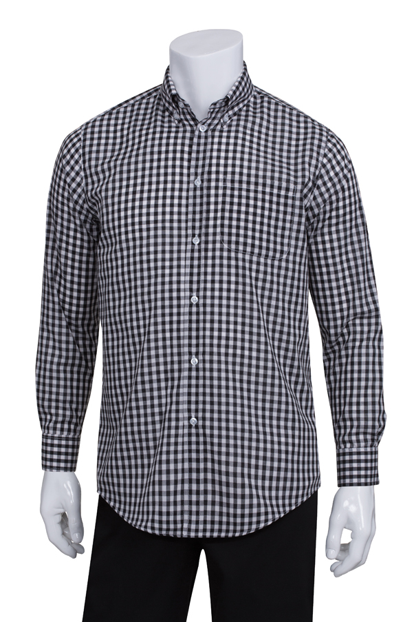 Mens Black Gingham Dress Shirt Chefworks Com