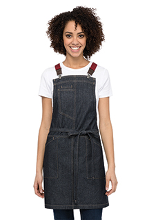 Berkeley Women's Petite Bib Apron: Indigo Denim - side view